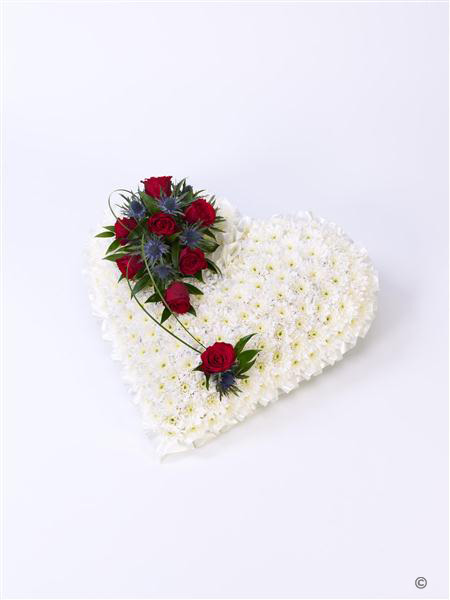 classic white heart with red roses funeral flowers isle of wight